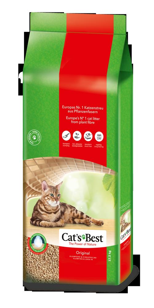 Cat's Best Original наполнитель древесный комкующийся, 20 л (8,6 кг)