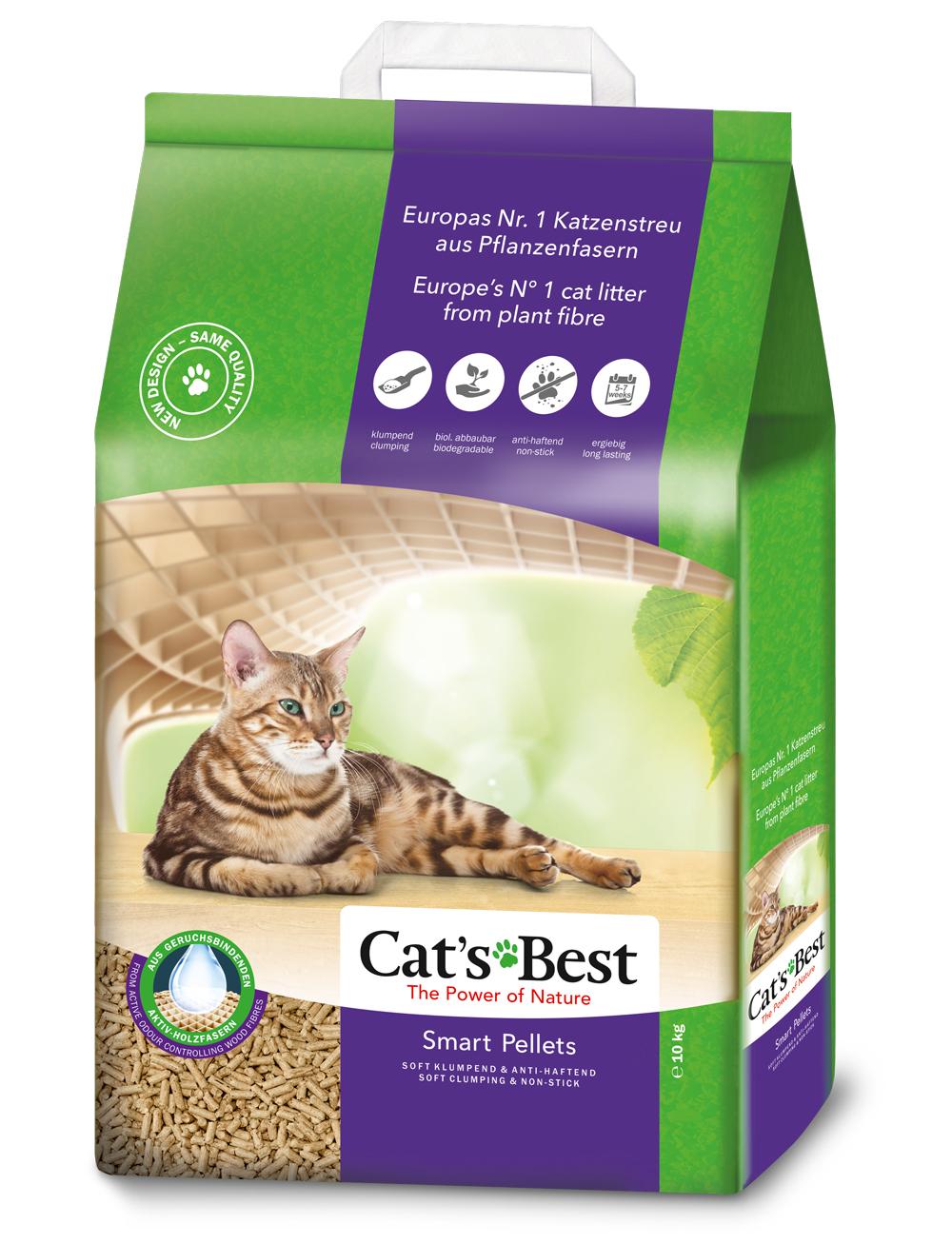 Cat's Best Smart Pellets наполнитель древесный комкующийся, 10 л (5 кг)
